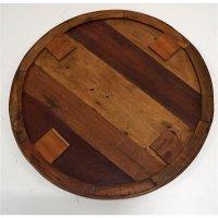 Runde Tischplatte massiv Teakholz 70cm
