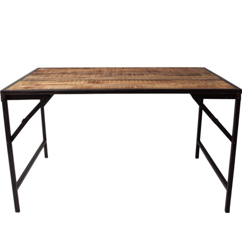 Antiker Tisch mit Holzplatte dunkelblau