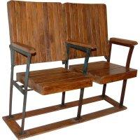 Originale Kinobank aus Holz mit 2 Sitzen