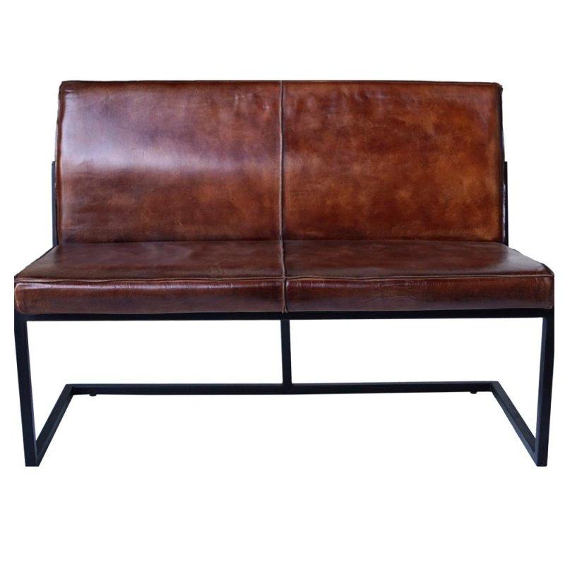 Loungesofa mit braunem Leder