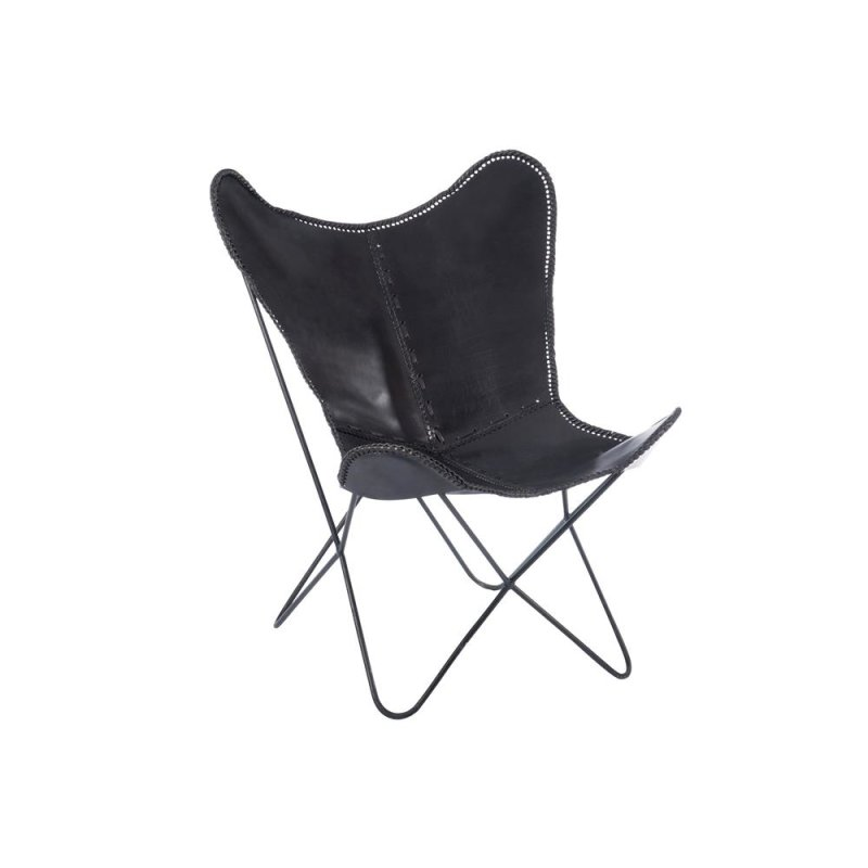 Lounge Chair Butterfly leder schwarz