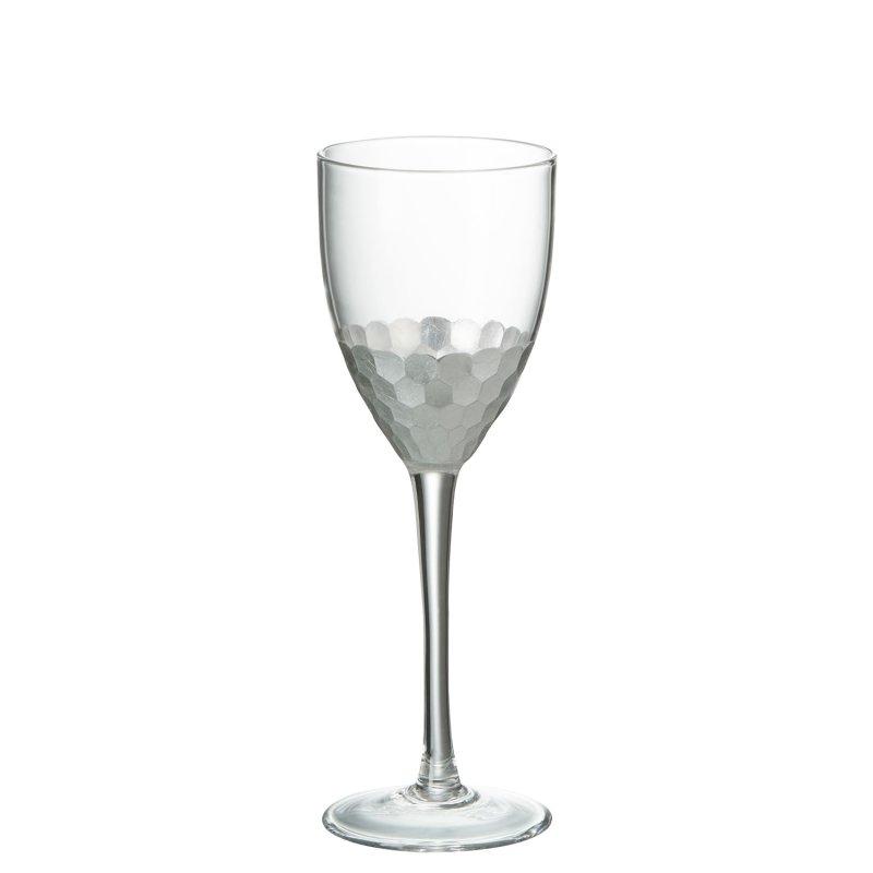 Weinglas Weiss Glas Transparent mit silber (8x8x22cm)