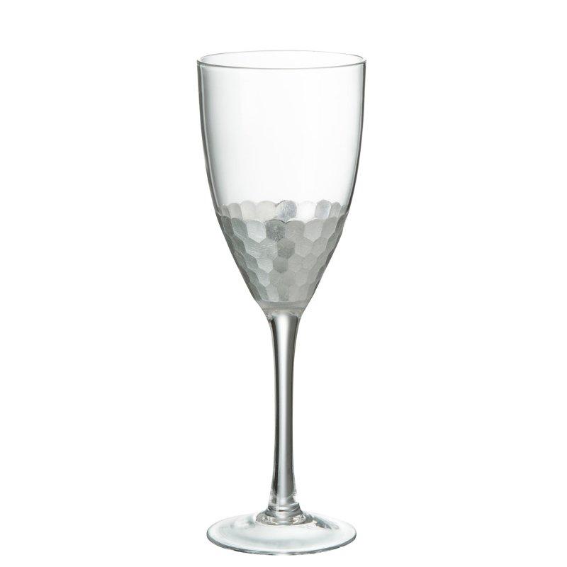 Weinglas ROT Glas Transparent mit silber (8x8x24cm)