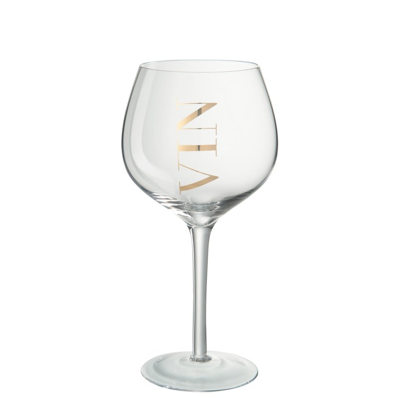WINE GLASS RED GLASS TR/GOLD