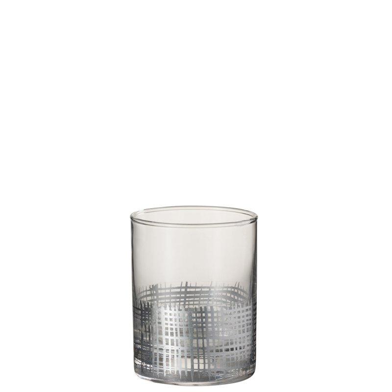 DRINK GLASS GRID CIL GL SIL/TR
