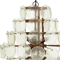 Hanging lamp, clear glass coins, large