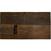 Dunkle Tischplatte aus Recyclingholz 130x70