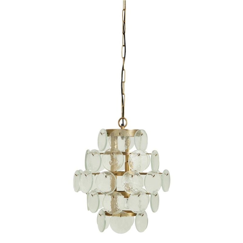 Hanging lamp, clear glass coins, small